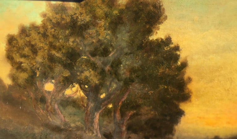 William Keith Original Tonal Oil Painting of California Misty Woodland Landscape For Sale 1