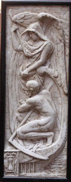 Winged Angel - Victorian 1891 sculptural relief plaster Scottish Glasgow artist