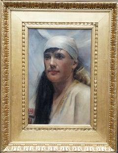 Portrait of Girl - Scottish 'Glasgow Boy' art 19th century oil painting