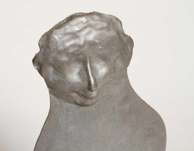 1960s Pop Art Unique Cast Aluminum Sculpture Cool Cat Bell Bottoms Americana - Gray Figurative Sculpture by William King (b.1925)
