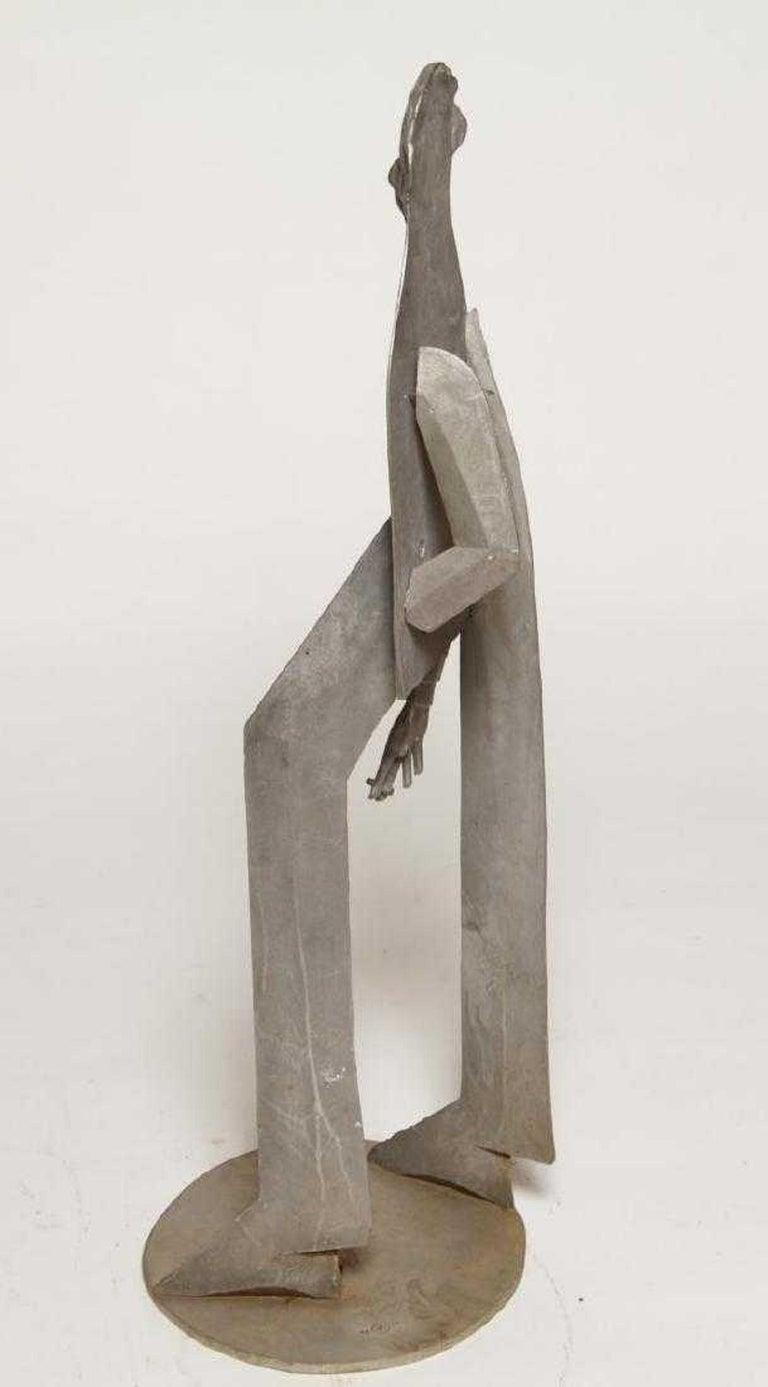 1960s Pop Art Unique Cast Aluminum Sculpture Cool Cat Bell Bottoms Americana For Sale 2