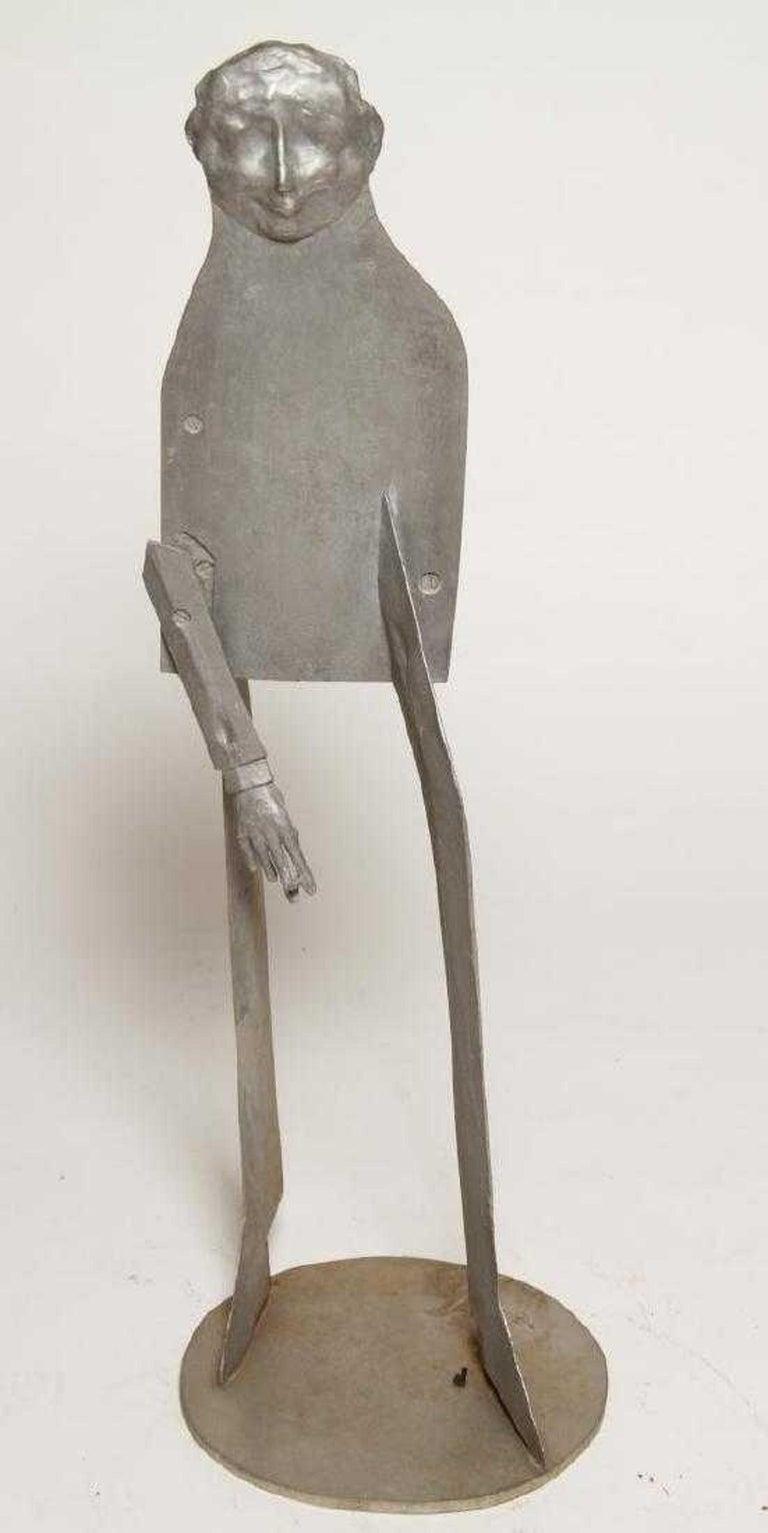 William King (b.1925) Figurative Sculpture - 1960s Pop Art Unique Cast Aluminum Sculpture Cool Cat Bell Bottoms Americana