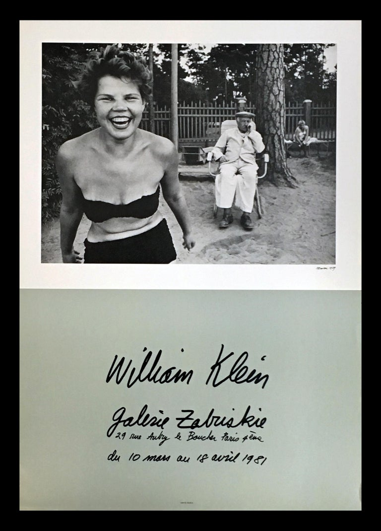William Klein Bikini, Moscow Exhibition Poster: Galerie Zabriskie, Paris, 1981 A chic, elegant, rare vintage William Klein exhibit poster defined by Klein's famed 'Bikini, Moscow' (1959). Printed on fine, heavy-weight paper; excellent color tones