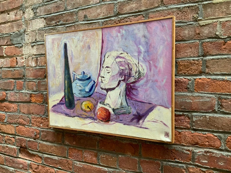 Mid-Century Modern William Krasnoborski Still Life No. 2 Purple Painting For Sale