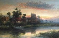 Hazy Sunset, Antique English Landscape Scene, Signed