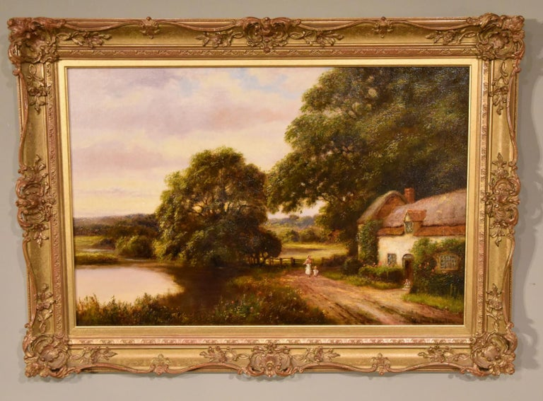 """Oil Painting by William Langley """"A Tranquil Day in the Country"""" 1"""