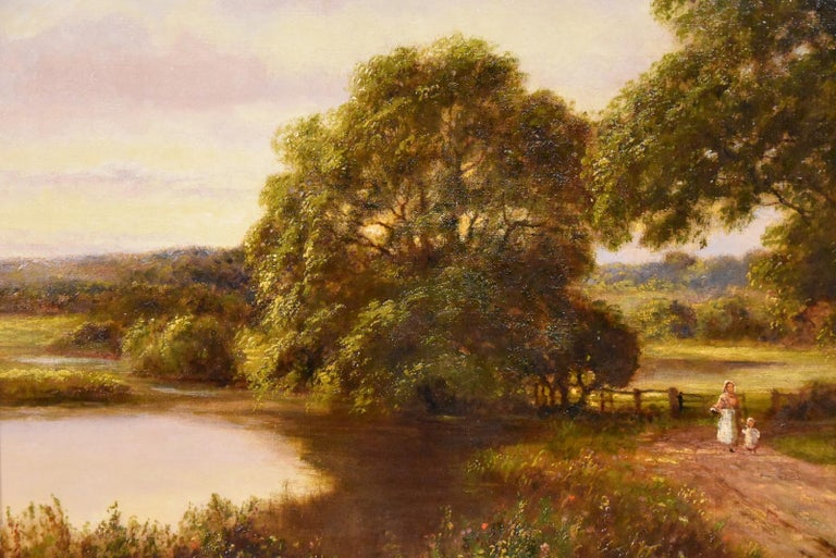 """Oil Painting by William Langley """"A Tranquil Day in the Country"""" 3"""