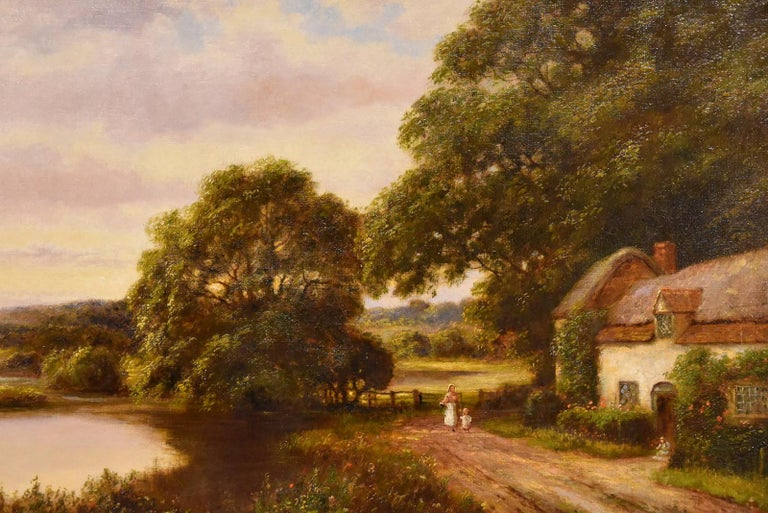 """""""A Tranquil Day in the Country"""" by William Langley who flourished 1890-1920. William Langley was a painter of atmospheric landscapes and coastal scenes in the manner of B. W. Leader. Oil on canvas. Signed indistinctly inscribed verso.  Dimensions"""