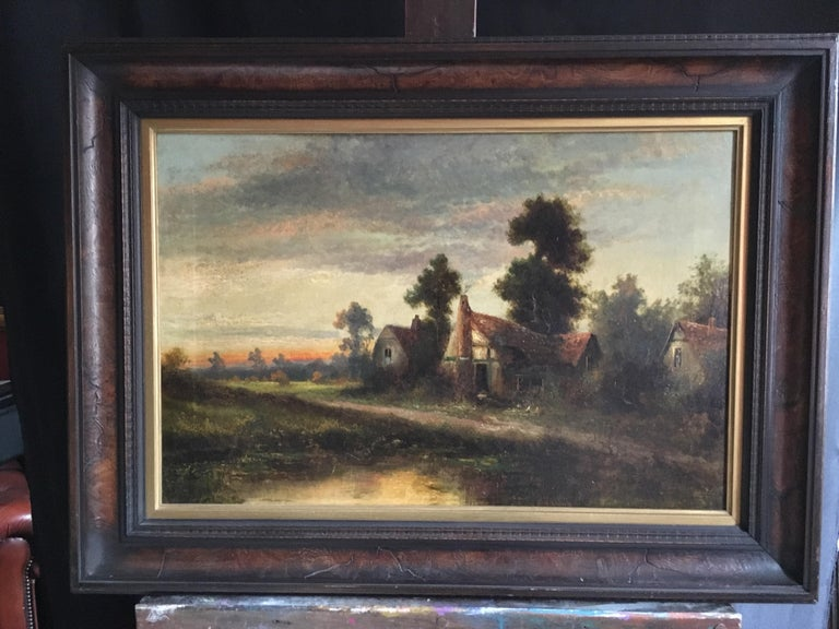 Sunrise River Cottage By British artist 'William Langley', early 20th Century Oil painting on canvas, framed Frame size: 21 x 30 inches  Fabulous original oil painting of a misty morning, looking over a crumbling old farmhouse with the pink sunrise