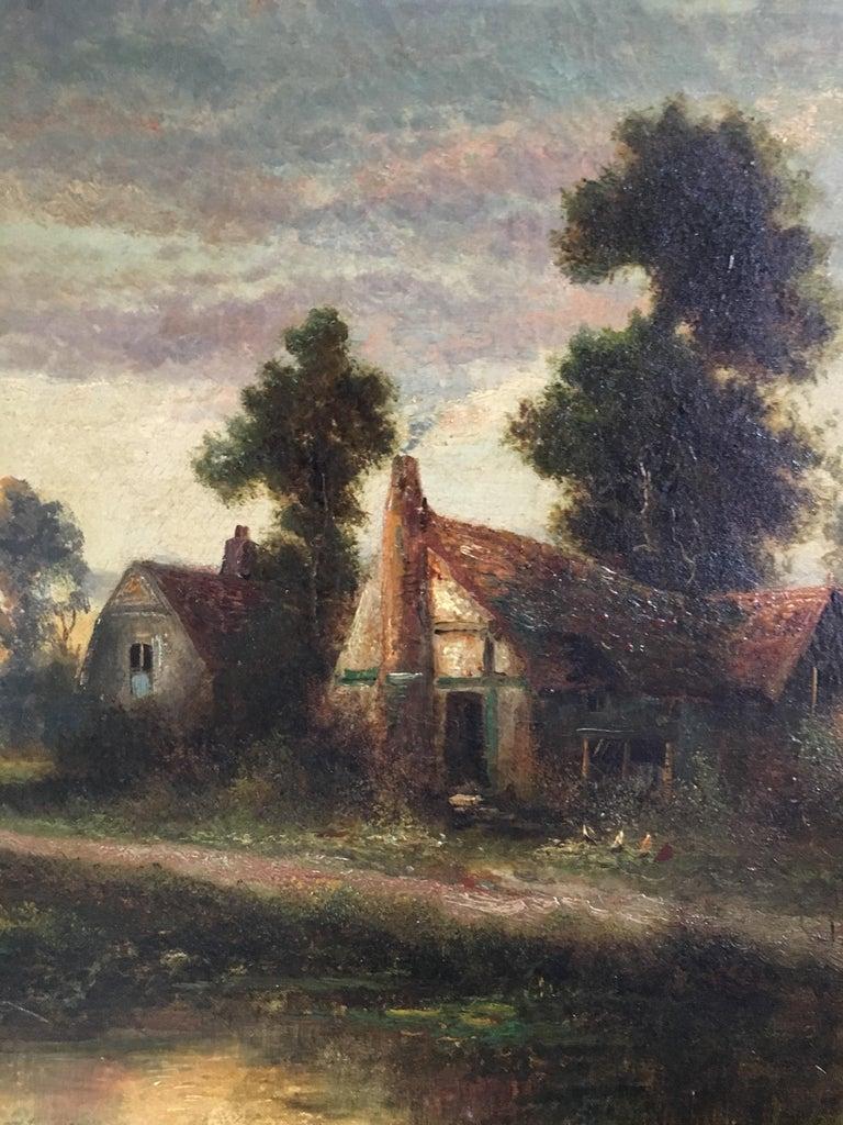 Sunrise River Cottage, Traditional River Landscape Scene, Oil Painting 1