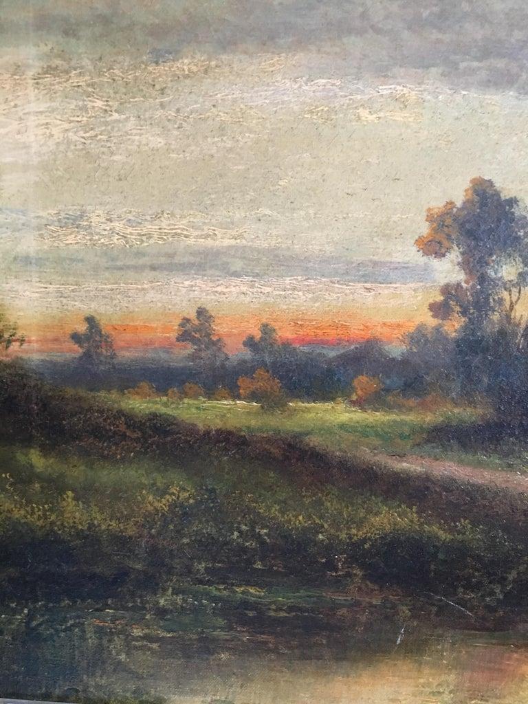 Sunrise River Cottage, Traditional River Landscape Scene, Oil Painting 2