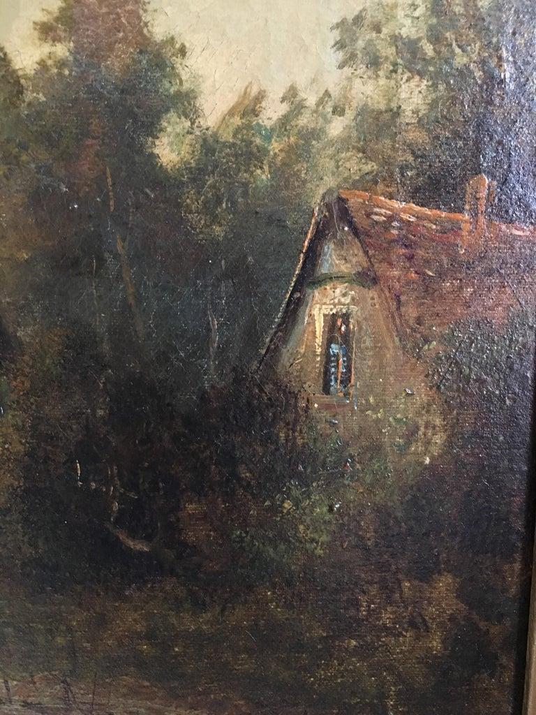 Sunrise River Cottage, Traditional River Landscape Scene, Oil Painting 4