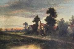 Sunrise River Cottage, Traditional River Landscape Scene, Oil Painting