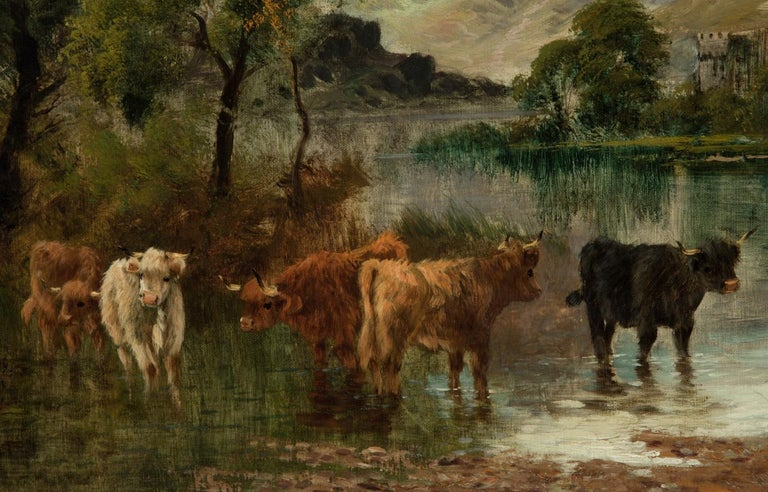 William Langley (c.1880-1920) - Signed Oil, Highland Landscape with Cattle - Victorian Painting by William Langley