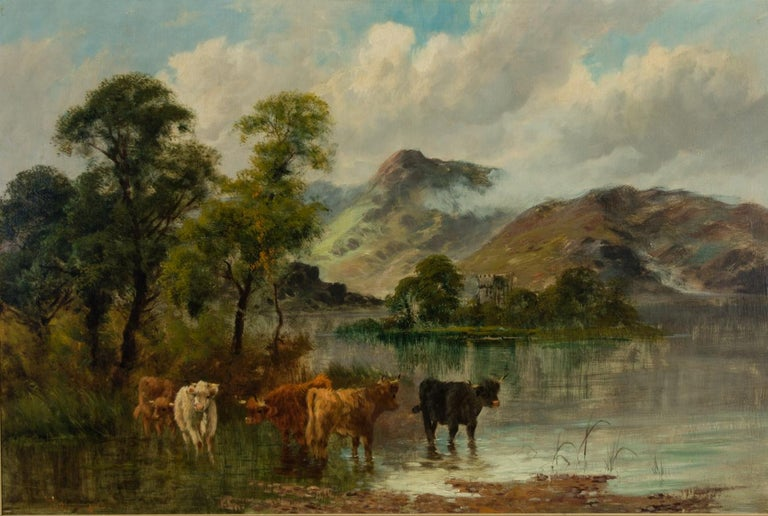 William Langley (c.1880-1920) - Signed Oil, Highland Landscape with Cattle - Brown Landscape Painting by William Langley