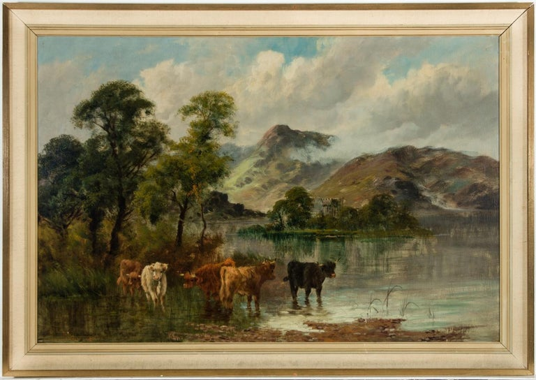 William Langley (c.1880-1920) - Signed Oil, Highland Landscape with Cattle - Painting by William Langley