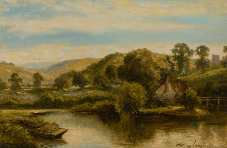 William Langley (c.1880-1922) - Signed Early 20th Century Oil, River Landscape - Brown Landscape Painting by William Langley