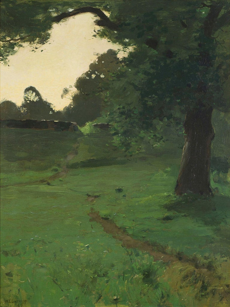 WILLIAM LANGSON LATHROP (1859–1938) View of a Path Through a Glade at Dusk Oil on canvas 25 ¼ x 19 inches Signed and dated 1889, lower left  American Tonalist and Impressionist painter William Langston Lathrop was a founder of the art colony at New