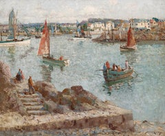 'Early Morning Sail' Harbour painting of sail boats, buildings & figures
