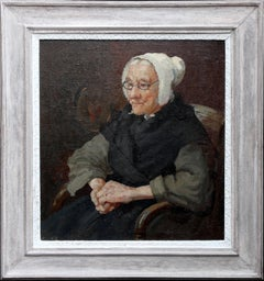 French Breton Lady - British Victorian Post Impressionist portrait oil painting