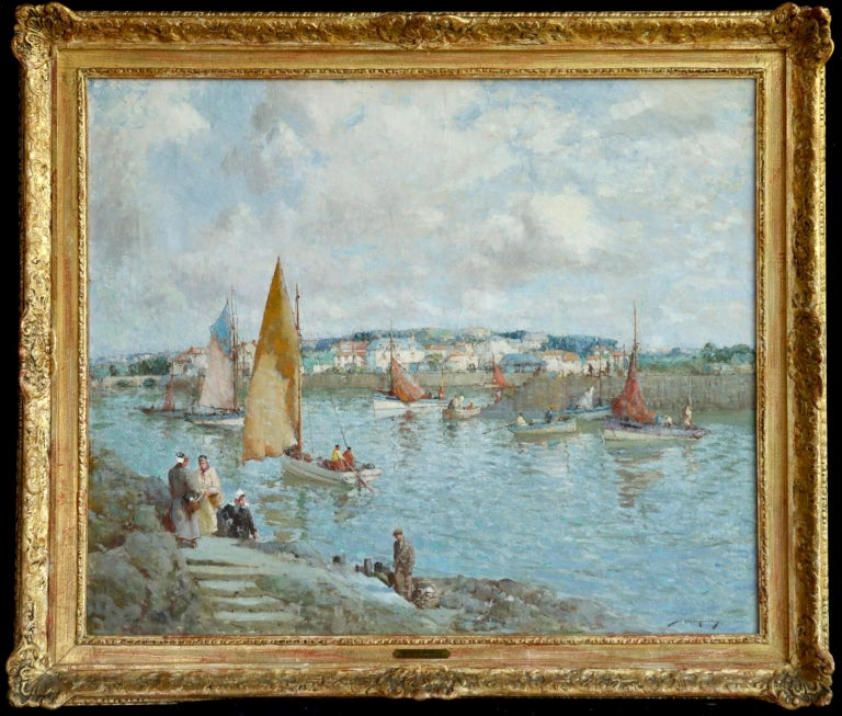 The Ferry - Brittany - Post Impressionist Oil, Riverscape by William Lee Hankey 1