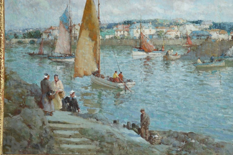 The Ferry - Brittany - Post Impressionist Oil, Riverscape by William Lee Hankey 4