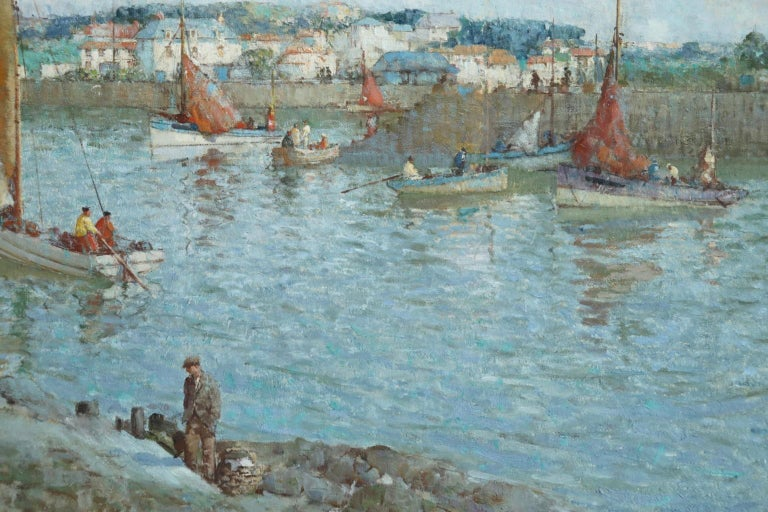 The Ferry - Brittany - Post Impressionist Oil, Riverscape by William Lee Hankey 6