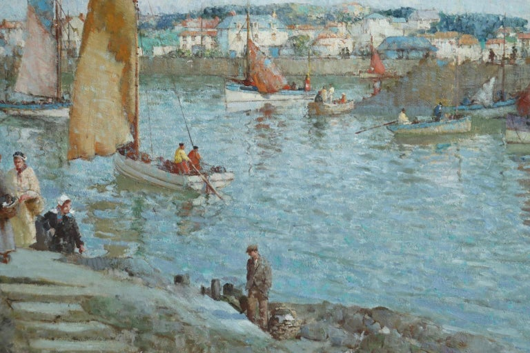 The Ferry - Brittany - Post Impressionist Oil, Riverscape by William Lee Hankey 7