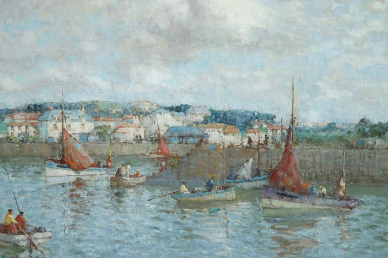 The Ferry - Brittany - Post Impressionist Oil, Riverscape by William Lee Hankey 8