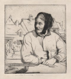 The Fish Wife, original signed etching by William Lee Hankey, c1915