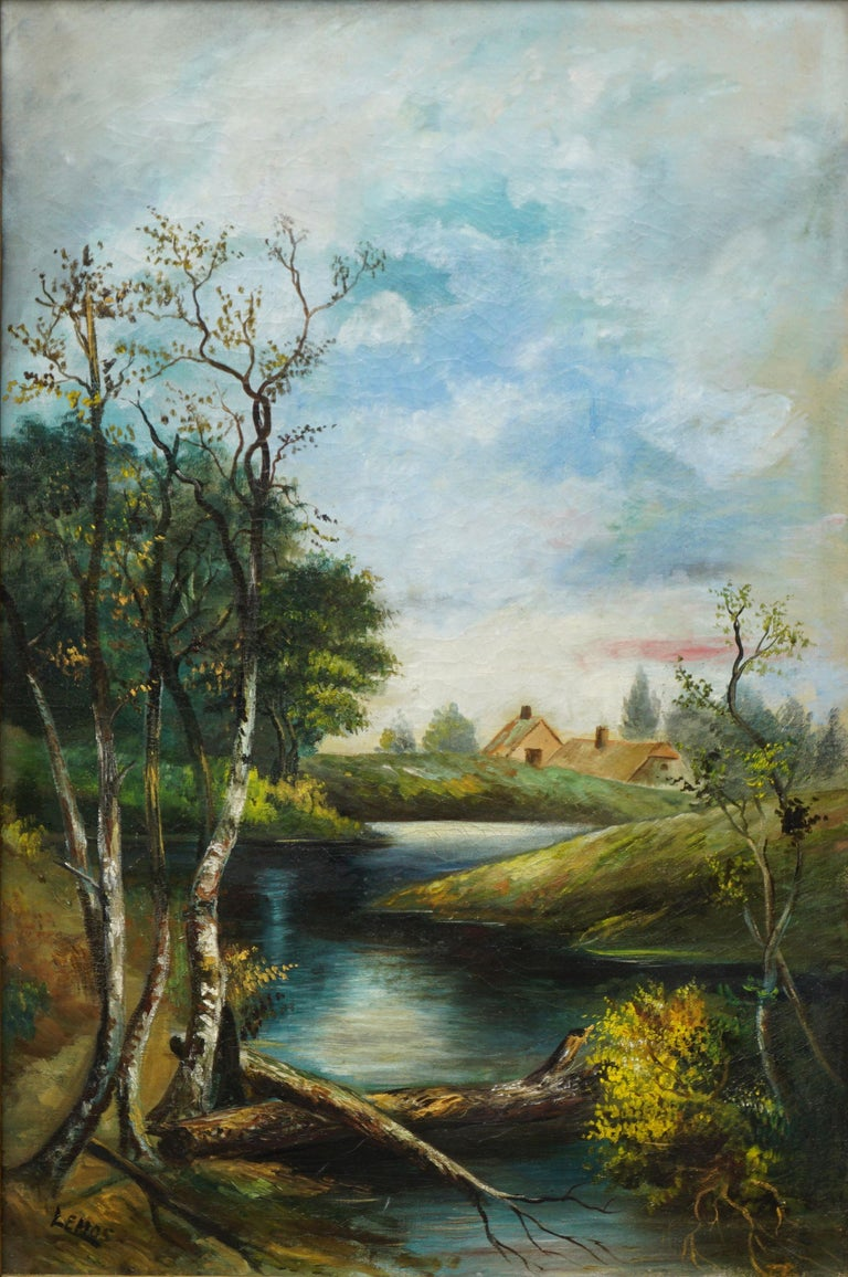 Early 20th Century Country Stream at College Lake Watsonville - Painting by William Lemos