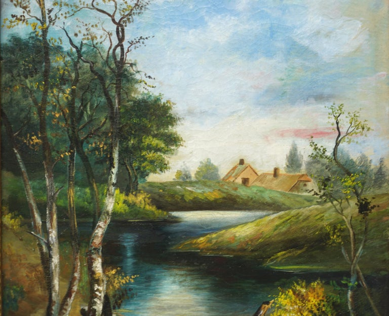 Early 20th Century Country Stream at College Lake Watsonville - American Impressionist Painting by William Lemos