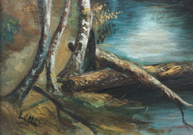 Early 20th Century Country Stream at College Lake Watsonville - Brown Landscape Painting by William Lemos