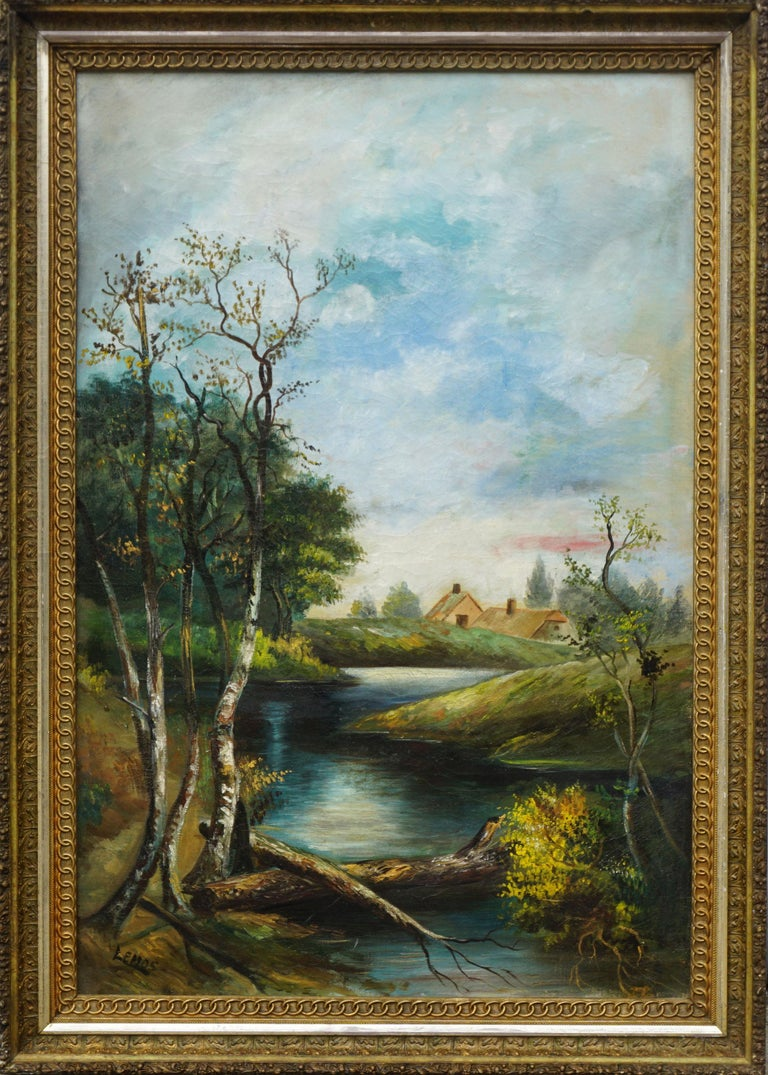 William Lemos Landscape Painting - Early 20th Century Country Stream at College Lake Watsonville