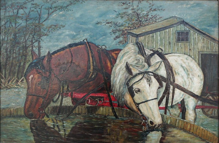 Mid Century Horses at the Trough  - Painting by William Lemos