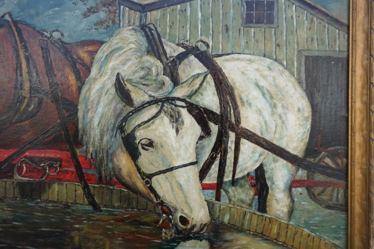 Mid Century Horses at the Trough  - American Impressionist Painting by William Lemos