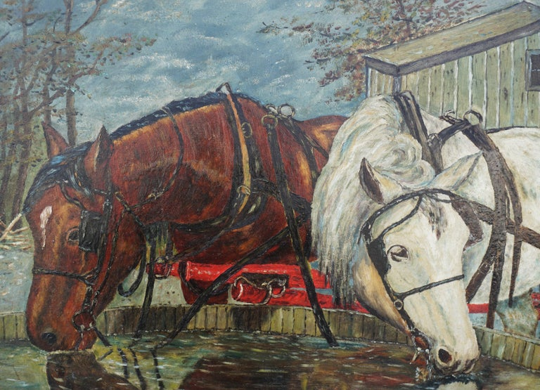 Mid Century Horses at the Trough  - Gray Figurative Painting by William Lemos