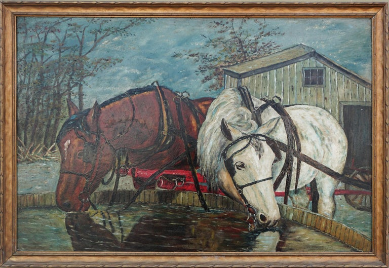 William Lemos Figurative Painting - Mid Century Horses at the Trough