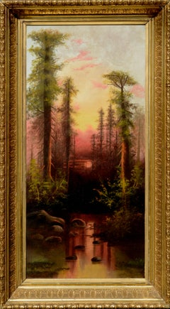 Early 20th Century Sunset over Redwood Forest Landscape
