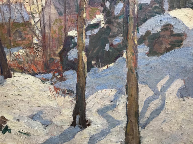 Rockport In Winter - American Impressionist Painting by William Lester Stevens