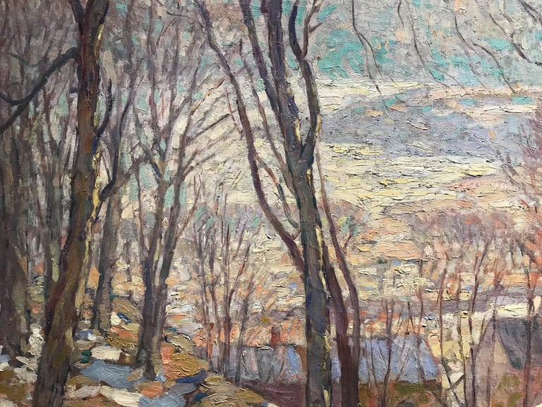 Rockport In Winter - Brown Landscape Painting by William Lester Stevens