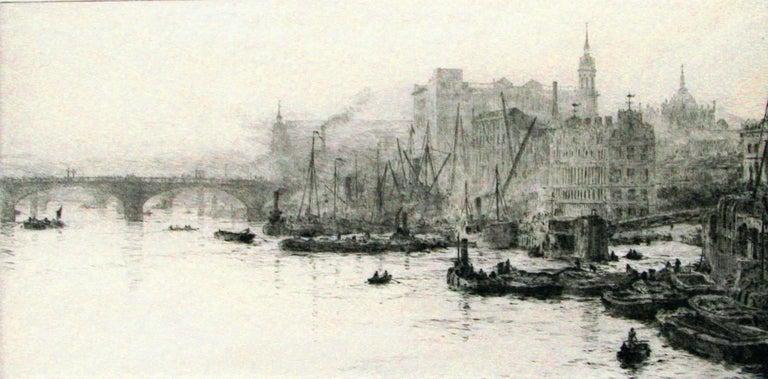 William Lionel Wyllie, R.A., R.I., R.E. Landscape Print - The Pool  of London.