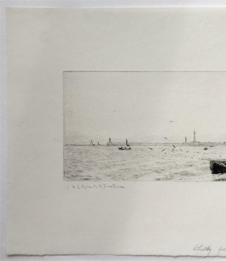 Whitby from the North-West. c. 1928. Etching and drypoint. 4 1/4 x 12 3/4 (sheet 9 3/8 x 17 ). Printed with subtle plate tone on cream laid paper. Signed in pencil. Housed in a 16 x 20-inch archival mat, suitable for framing.  Whitby is a seaside