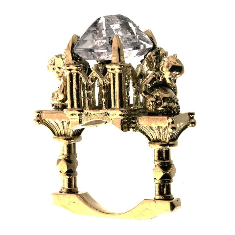 Gothic Revival 18 Karat, Pink Morganite Effervescent Temptress Cathedral Ring For Sale