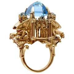 William Llewellyn Griffiths 9 Karat Gold, Blue Topaz Alchemist Cathedral Ring