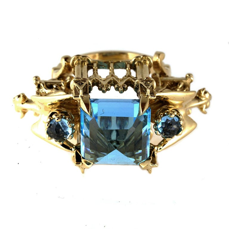 Gothic Revival William Llewellyn Griffiths 9 Karat Gold, Blue Topaz Alchemist Cathedral Ring For Sale