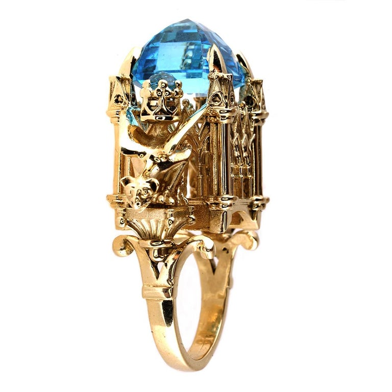 William Llewellyn Griffiths 9 Karat Gold, Blue Topaz Alchemist Cathedral Ring In New Condition For Sale In Fitzroy, AU