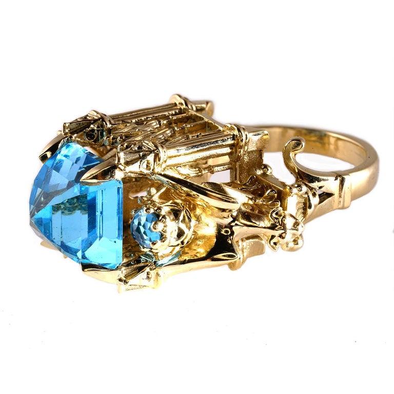 Women's or Men's William Llewellyn Griffiths 9 Karat Gold, Blue Topaz Alchemist Cathedral Ring For Sale