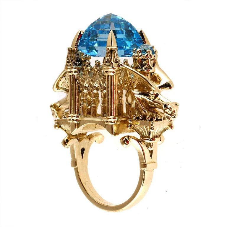 William Llewellyn Griffiths 9 Karat Gold, Blue Topaz Alchemist Cathedral Ring For Sale 1