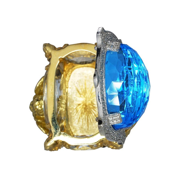 Blue Topaz and Diamond Chamber Ring 4